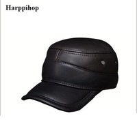 2017 new genuine leather men military cap hat Harppihop new men's real leather adult solid adjustable army hats/caps fashion