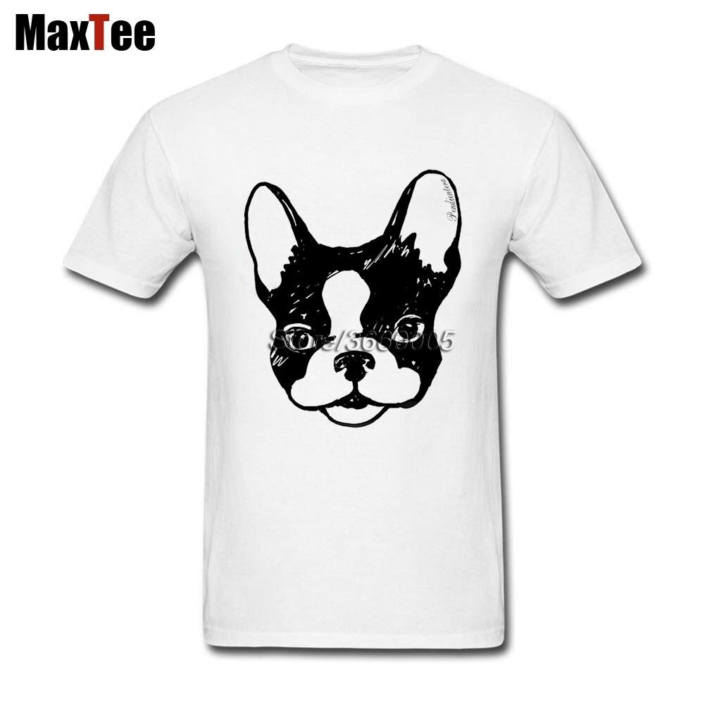 Французский бульдог футболка для Для мужчин с ума Короткий Рукав Crewneck хлопок плюс Размеры Семья frenchie футболки