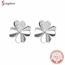 Soaptree Silver Stud Earrings Brand Produc 925 Silver Flowers Earrings Cubic Zirconia Stone Women Fashion Earring Jewelry