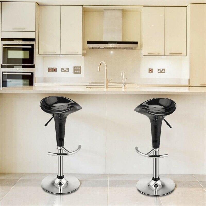 High Quality Set Of 2 Modern Bombo Style Swivel Bar Stools Adjustabl Modern Home Steel Heavy Duty ABS Plastic Stools HW51432BK