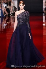 On Sale Style Elie Saab New Sexy Evening Dresses Custom Beaded Long One-Shoulder Formal Prom Gowns