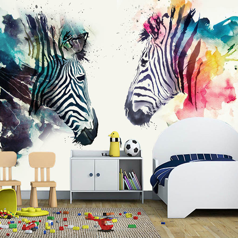 Modern Abstract Art Mural Wallpaper 3D Watercolor Zebra Wall Painting Kid's Bedroom Cafe Restaurant Background Wall Papers Decor fashion letters and zebra pattern removeable wall stickers for bedroom decor