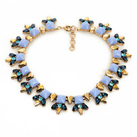 Women Fashion Jewelry Sapphire Crystal Square Resin Bubble Bib Necklace Exaggerated Necklaces Pendants