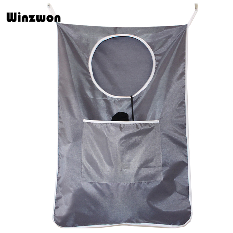 1Pcs Household Door Hanging Laundry Bag	Wall Mounted Home Laundry Hamper Organizer Bag With Stainless Steel And Suction Cup Hook
