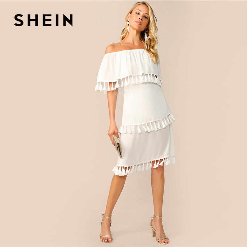 Шеин с открытыми плечами многослойная кисточка подол летнее платье женское элегантное однотонное без рукавов ТРАПЕЦИЕВИДНОЕ платье миди с высокой талией белое платье