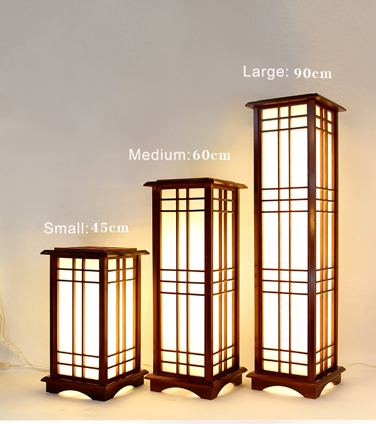 Modern Japanese Tatami Style Square Shape Oak Wood Solid Wooden Floor Lamp With E27 LED Standing Lamps For Living Room Hallway