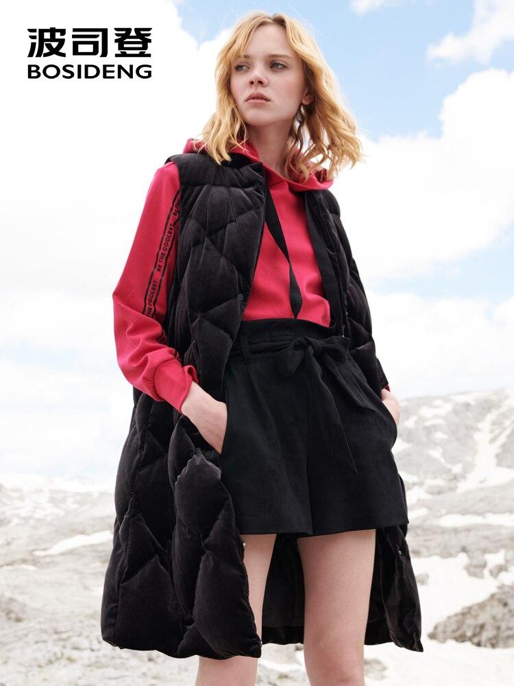 BOSIDENG 2018 Новый женский гусиный пух жилет женский длинный Зимний толстый пуховый жилет женская бархатная куртка с карманами B80131016