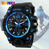 SKMEI 1155 Men Fashion Sport Dual Display Wristwatches Outdoor Quartz Digital Double Movement Watches Chronograph Alarm