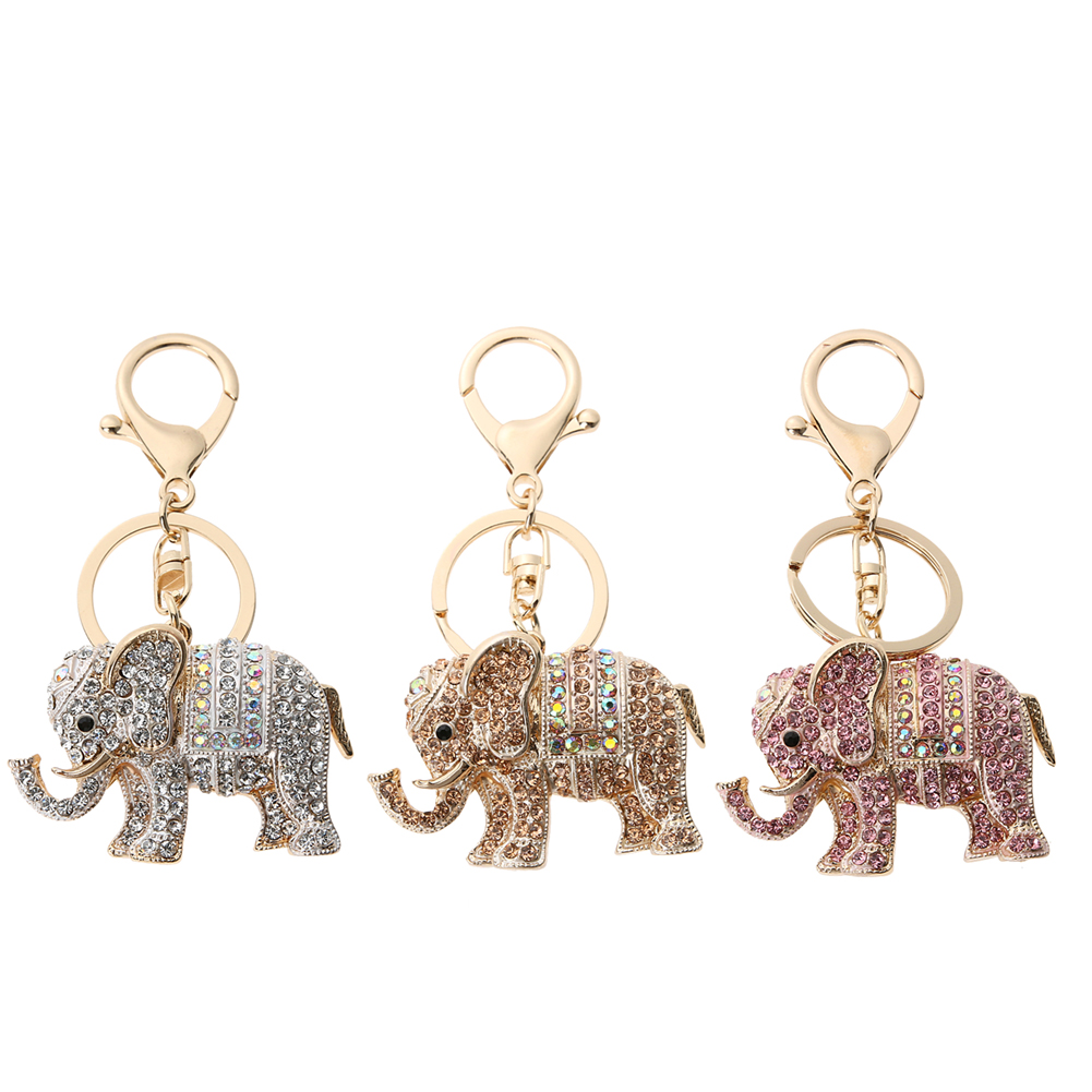 Charm Pendant Lucky Mascot Elephant Keychain Bling Keyring Bag Purse Buckle Car Keys Holder Jewelry Gift For Women 3 Colors lucky bag gift box for blackview ultra