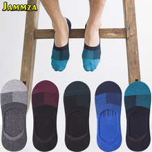 5Pairs/Lot 2019 New Business Men Invisible Socks for Summer Non-slip Anti-friction Breathable Patchwork Cotton Casual