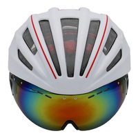 Double Layers In Mold Cycling Helmet With Glasses Goggles Bicycle Helmet Ultralight 280g Casco Ciclismo Bike