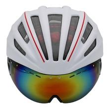 Capas dobles En molde Casco de Ciclista Con Gafas de Casco de La Bicicleta 280g Casco Ciclismo Bike Helmet 28 Aire rejillas de ventilación