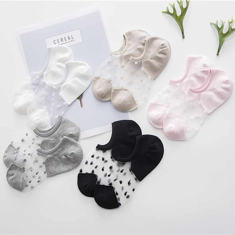 508514bd81 ... Cute No Show Socks Transparent 5 pairs Low Cut Blind Women Summer  Invisible Ankle Intimate Glass ...