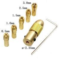 Juego de brocas de 5 uds. A 3mm de 0 5mm  juego de mandril de taladro de cobre  pequeño taladro eléctrico  portabrocas con Clip de taladro de 2 35mm y 3 17mm