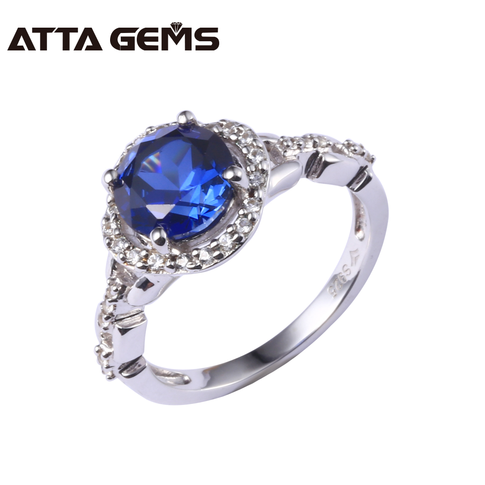 Blue Sapphire S925 Women Silver Ring 2.5 Carats Sapphire Romantic Elegant Style for Women The Best Choice for Christmas Gift delicate alloy faux sapphire geometric ring for women