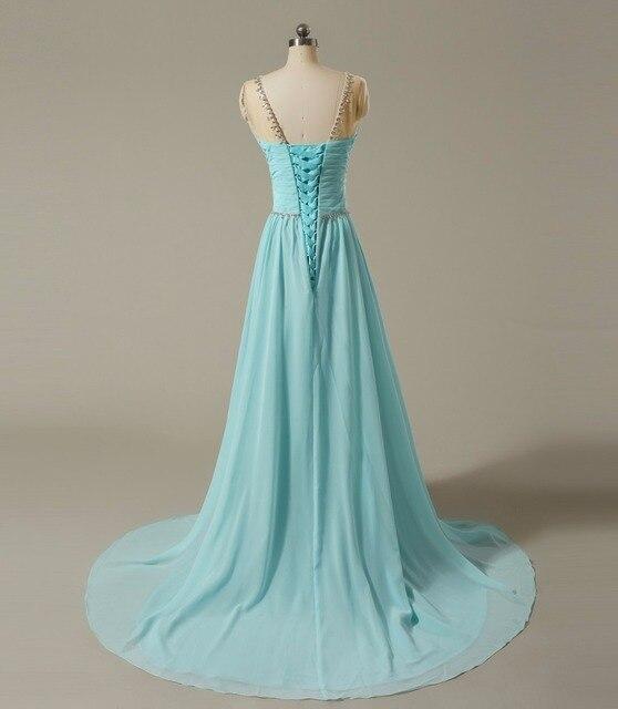 backlackgirl elegant beautiful Bridesmaid Dresses Boat Neck Sleeveless  Silvery Beaded Blue Chiffon A Ling Long Prom Dresses 2018 861721569758