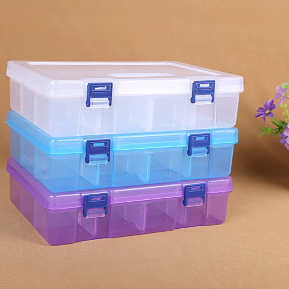 FS5 Storage Case Holder Container Pills Jewelry Nail Art Tips 16 Grids Double layer sep26