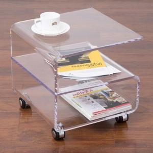 Rolling Acrylic Coffee Tea Table On Wheels, Lucite Perspex Side Magazine Table,Plexiglass Small furnitures ONE LUX hot sale c shaped waterfall acrylic occasional side table