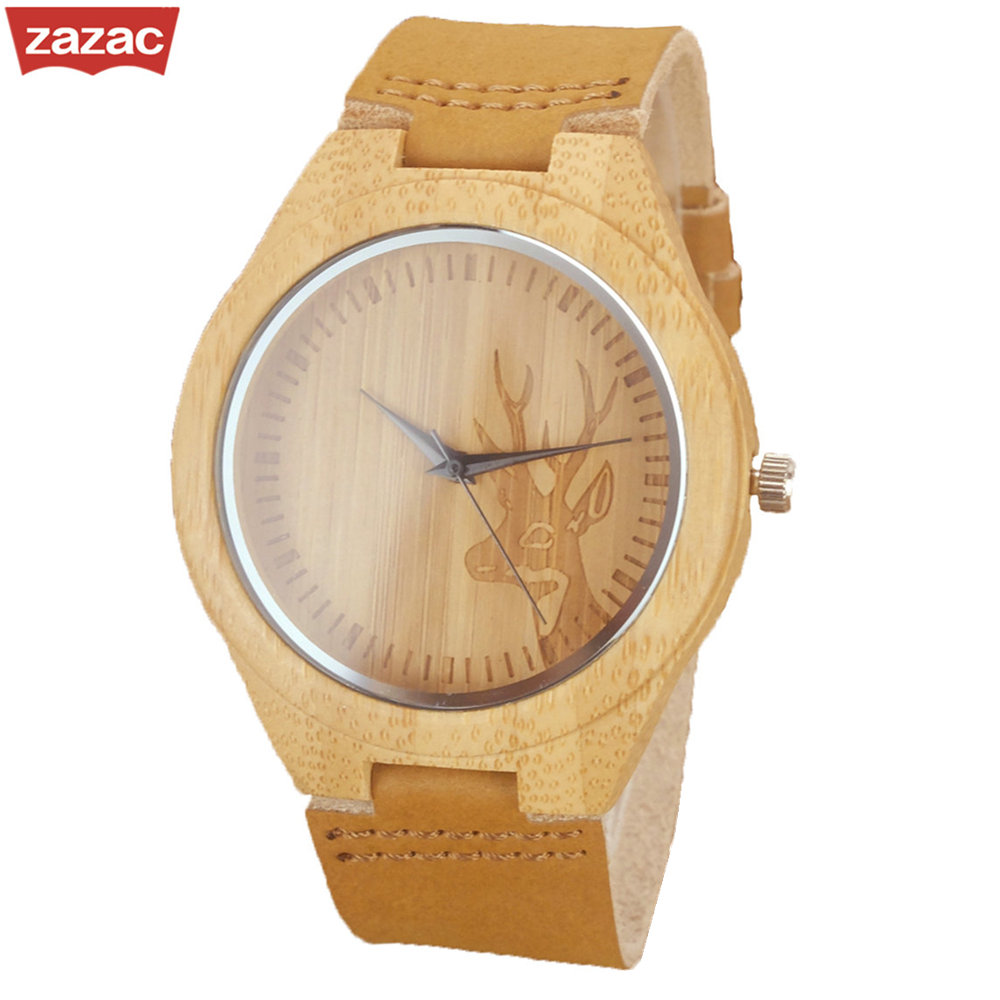 2017 Deer Head Design Bamboo Wooden Quartz Watches Men Women Luxury Retro Genuine Leather Wristwatch
