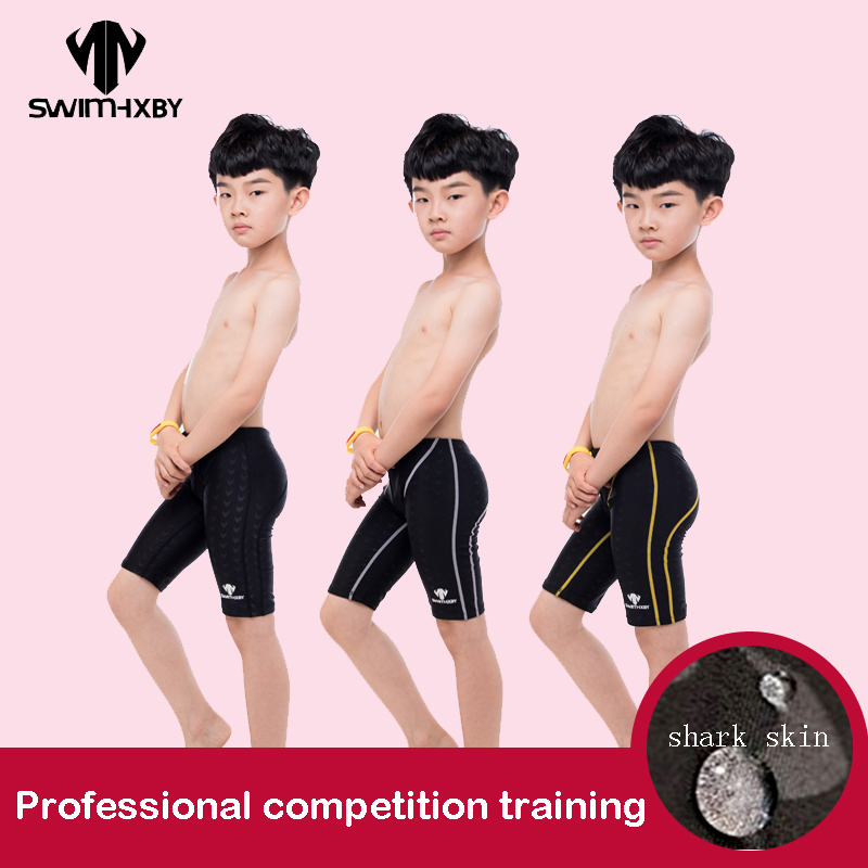 HXBY Swimming Trunks For Boy Baby Training Children's Swimsuit Boys Swimwear Professional Competition Men's Swimming Trunks Plus
