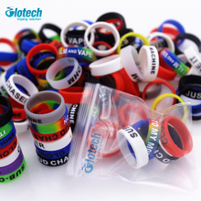 Glotech 50PCS silicone rubber band vape ring for 18650 22mm rda mechanical mods decorative protection vape band ecig accessories