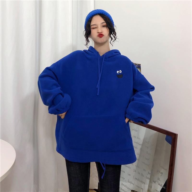 Hoodies Women Pockets Embroidered Cartoon Trendy Cute Female Loose BFplus Velvet Womens Long Sleeve All-match Lovely Streetwear 23