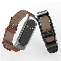 Correa de repuesto de cuero genuino para Xiaomi Mi Band 2, pulsera inteligente con imán, marco de Metal, funda, accesorios