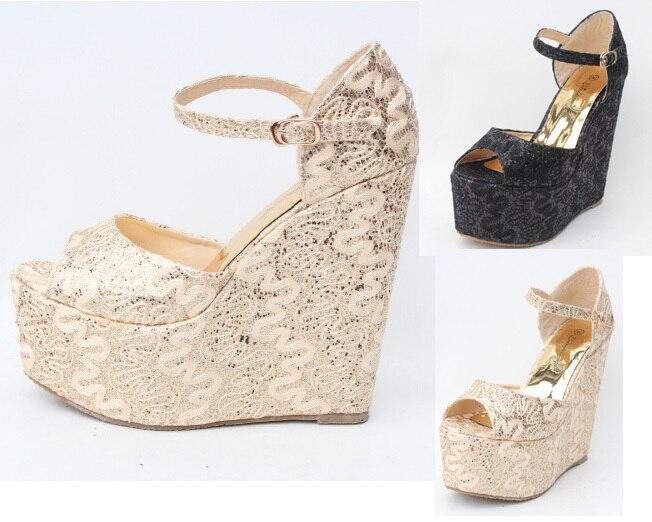3fee93c52 2015 Hot Extra large High heels plataformas sandalias plataforma mujeres  sandalias de punta abierta Glittery Glod del banquete de boda sandalias  tamaño 34 ...