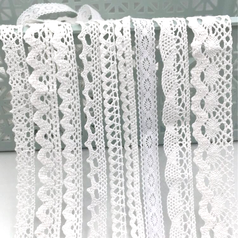 10Yards White Hollow Out Lace Fabric 18 Color Choose Ribbon Lace Trim Cotton Handmade Crafts DIY Scrapbooking Sewing Accessories