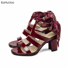 лучшая цена KoHuiJoo 2019 Women High Heel Sandals 2019 Summer Sexy Genuine Patent Leather Sandals Lace up Ankle Strap Shoes High Quality