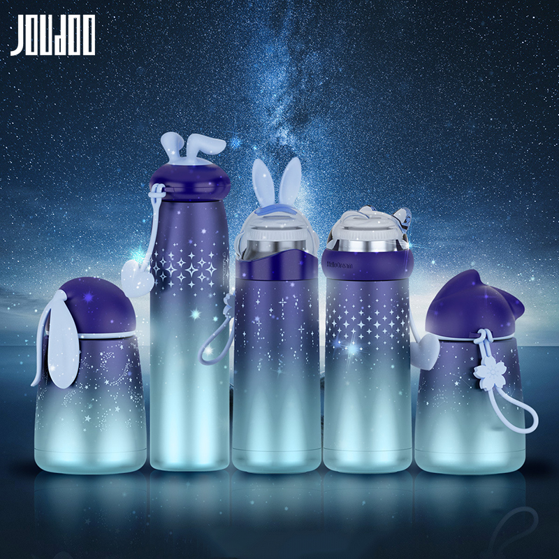 JOUDOO Cute Space Star Stainless Steel Thermos Bottle Cute Tumbler Thermal Vacuum Flask Thermos Cup for Kids Christmas Gifts 35