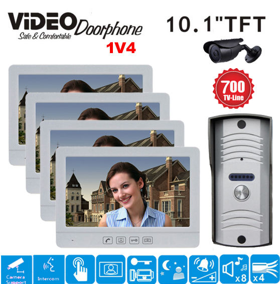 ZHUDELE Home security system 10.1 Display Wired Video Door Phone Touch Button Doorbell Intercom IR 700TVL HD Camera 1V4