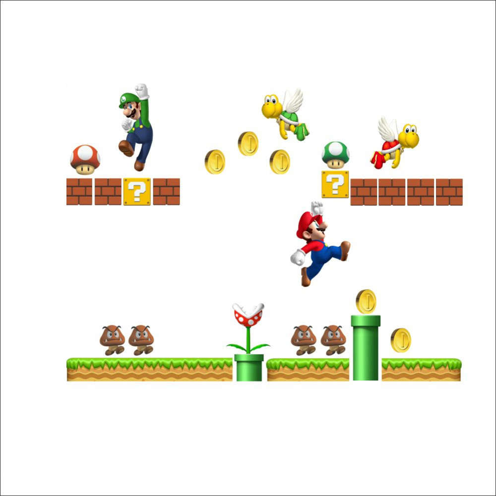 Super Mario Bros Kids Removable Wall Sticker For Kids Rooms-Free Shipping 3D Wall Stickers For Kids Rooms