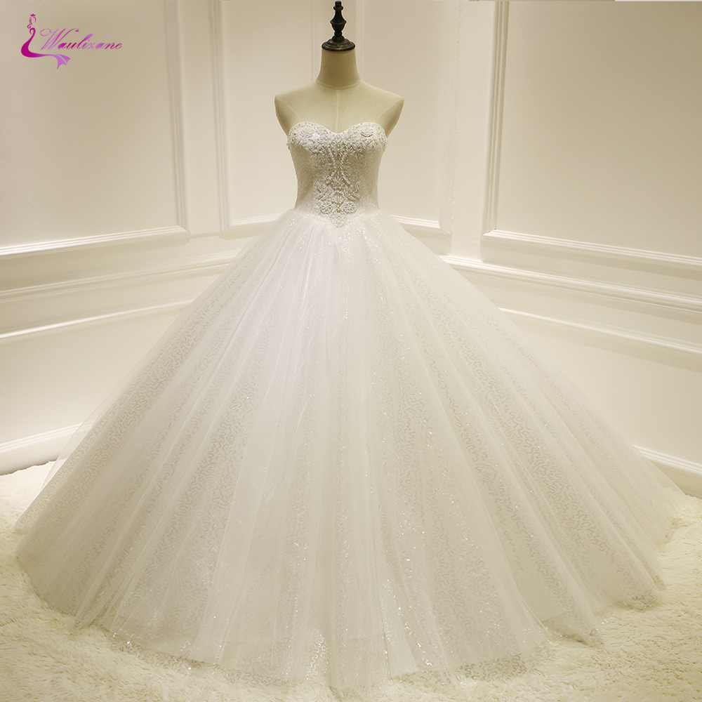 Waulizane A Line Wedding Dress Custom Made With Beads Rhinestones Of Strapless Brdal Dress Floor Length