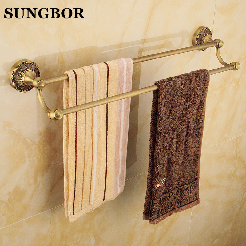 European Antique Brass Double Towel Bars Luxury Towel Rack Towel Bar Wall Mounted Towel Holder Bathroom Accessories ZL-8711F nail free foldable antique brass bath towel rack active bathroom towel holder double towel shelf with hooks bathroom accessories