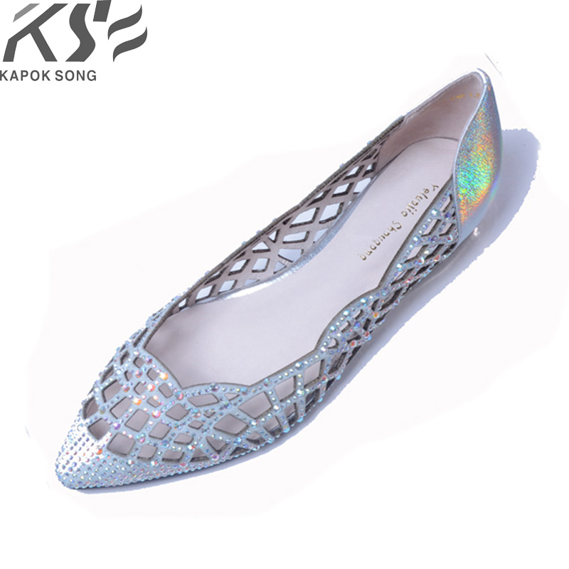 sandal women fashional designer genuine leather diamond shiny sandal shoes lady summer flats retro 2018 dicty confirtable shoes