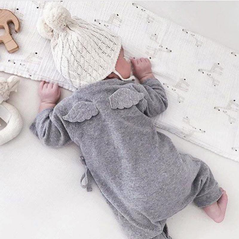 Grey Cute Newborn Belt Overalls Baby Back Angel Wing Lovely Romper Infant Boy Girl Jumpsuit Soft Cotton Toddler Costume delicate hot cute animal newborn girl boy soft sole crib toddler shoes canvas sneaker for 0 12m m22