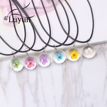Luyun Handmade Boho Transparent Glass Real Daffodil Dried Flower Necklace Rope Chain Jewelry Gift Wholesale
