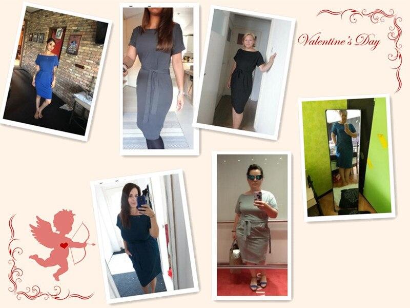 19 New Summer Fashion Women Casual Short Sleeve O-Neck Straight Black Gray Blue Dress Loose Plus Size Pocket Cotton Midi Dress 5