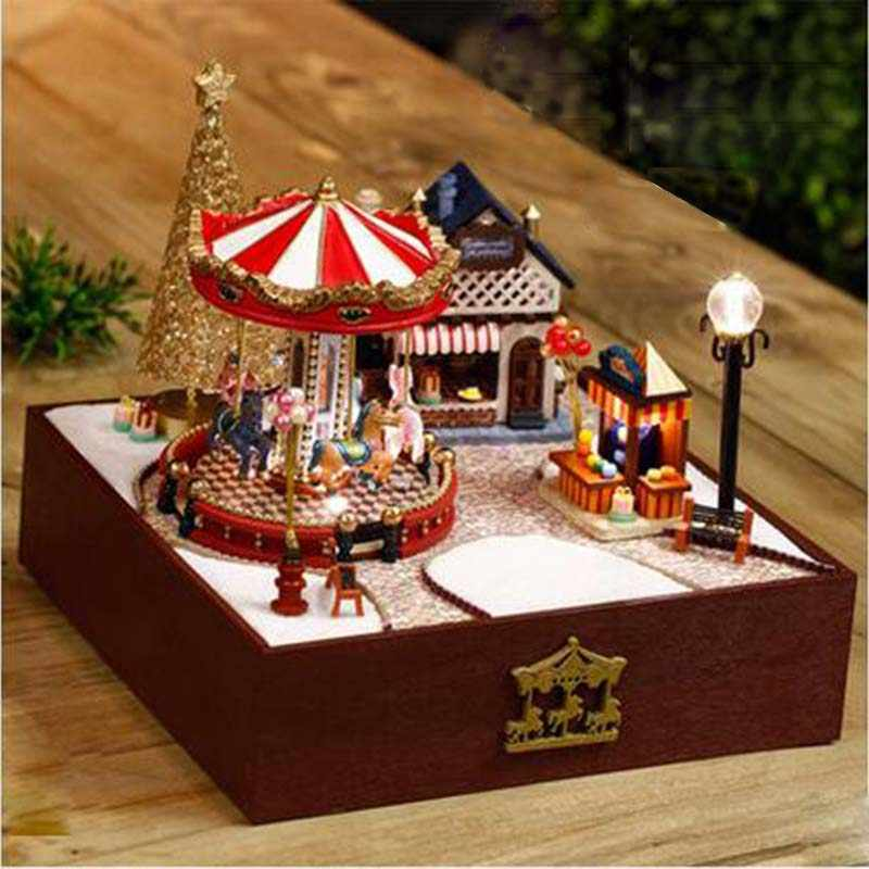 Handmade Wooden Miniatura Room Box Assemble Miniature Dollhouse DIY Doll House Girl Boy Birthday Valentine Gifts - Trojan Series
