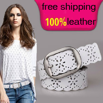 Hot Sale Factory Price Hollow Out Genuine Leather Belt Fashion Cowhide Women Wide Belt Women's All-match Belt Free Shipping