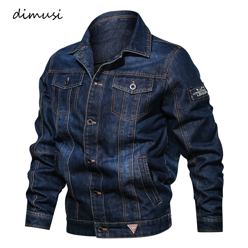 DIMUSI Spring Mens Denim Jacket Trendy Fashion Ripped Denim Jacket Mens Jean Jackets Male Bomber Windbreaker Cowboy Coats 6XL