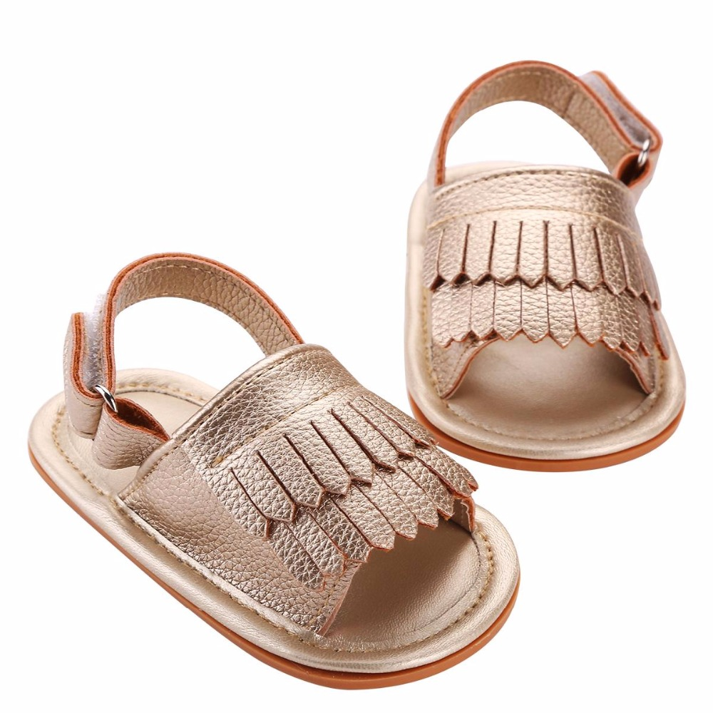 Toddler Girls Soft Sole Gold PU Leather Baby First Walkers ...