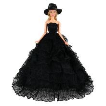 Accessories 1/6 Handmade Black Fashion Wedding Princess Dress For Barbie Doll Floral New Clothes Clothing Multi Layers Dolls e ting handmade fashion doll clothes winter clothing rose coat jacket skinny star print jean girls suit for barbie accessories