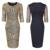 Feibushi vestidos mujeres geométrica vestido de noche de lentejuelas de oro del cordón de la onda vestidos sin espalda bodycon lápiz delgado atractivo del club party dress