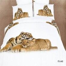 Animal Print 3D Tigre León Juego de Cama Queen Size 100% Algodón Edredones cubre los Sistemas ropa de Cama Funda de Almohada Cama en una Bolsa de $ number piezas Kit