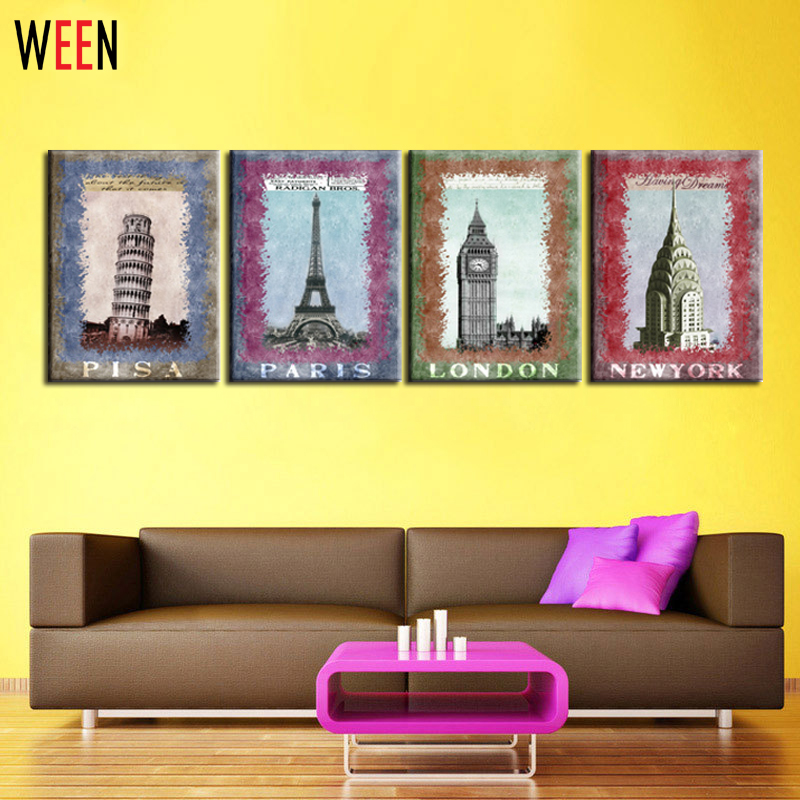 Unframed 4 Panel Canvas Wall Art Picture Pisa Paris London New York ...