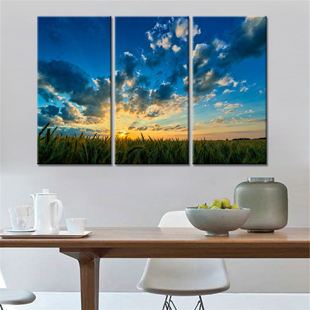 Drop-shipping 3 Panels Home Decor Landscape Wheat Field Sunset Print Painting Scenery Canvas Painting Wall Art Painting Unframed