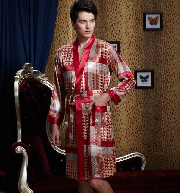 Temperamento caballero Batas Satén Suave Hombres de Imitación de Seda ropa de Dormir de Seda Con Cuello En V Manga Completa Albornoz Plus Gran Tamaño XXXL 20501