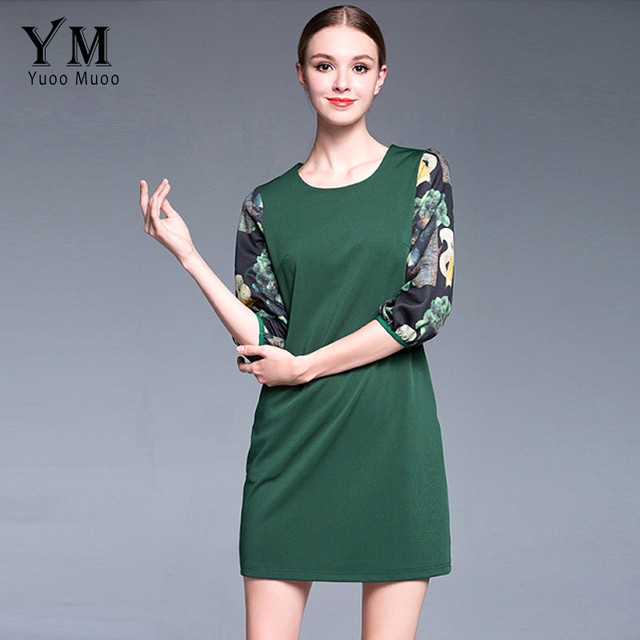 YuooMuoo New Casual Plus Size Women Straight Green Dress Female Fashion  Spring Autumn Dress Brand Fashion Ladies Dresses abe7bed452eb